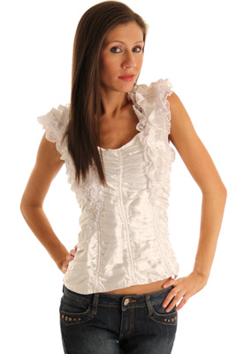 Romantic Ruffled Satin and Lace Top