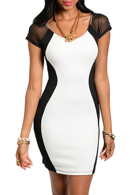 Sexy Sheer Short Sleeve Color Blocked Mini Club Dress