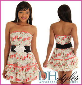 Cute Tiered Pansy Print Tube Dress W/Belt