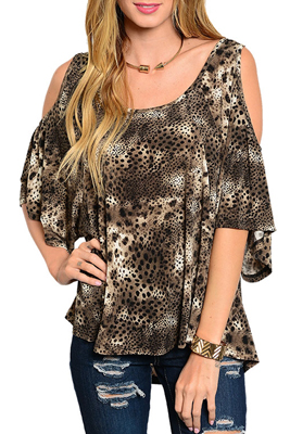 Trendy Animal Print Cold Shoulder Butterfly Sleeve Top