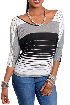 Trendy Striped Open Back Knit Top