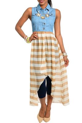 Trendy Sleeveless Striped Ruffled High-Low Dress