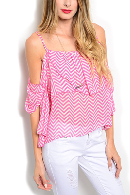 Sheer Chevron Cold Shoulder Layered Top