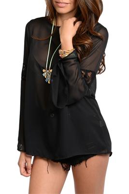 Sexy Sheer Chiffon Lace Long Sleeve Dressy Top