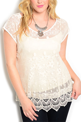 Plus Size Sheer Crocheted Polka Dot Lace Top