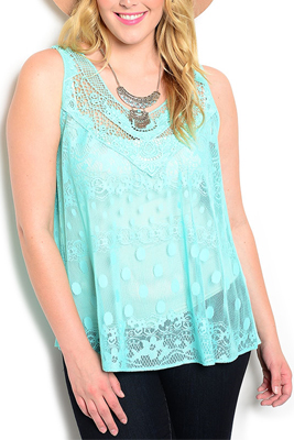 Plus Size Sheer Lace Polka Dot Top