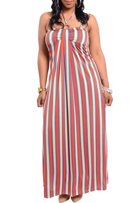 Plus Size Sexy Trendy Stripped Halter Dress