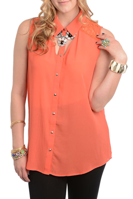 Plus Size Sexy Sheer Lace Sleeveless Button Down Top