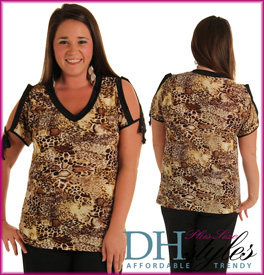 Trendy Animal Print V Neck Plus Size Top