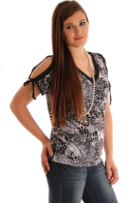 Plus Size Trendy Animal Print V Neck Top Top