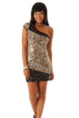 Slinky Metallic Shimmer Animal Print Mini Dress