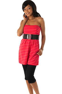 Trendy Striped Durable Strapless Top with Belt