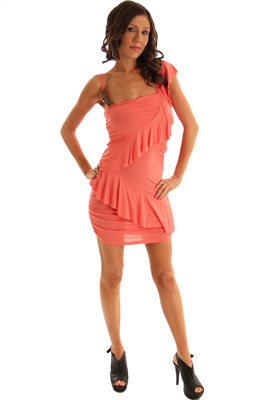 Cold Shoulder Shirred Asymmetrical Ruffle Dress