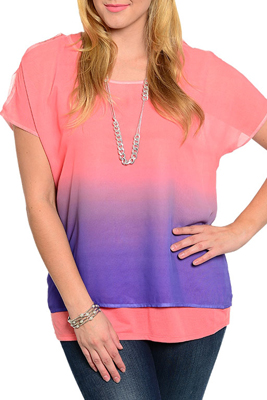 Plus Size Chiffon Ombre Lined Flowy Top