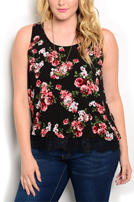 Plus Size Sheer Floral Scalloped Hem Top
