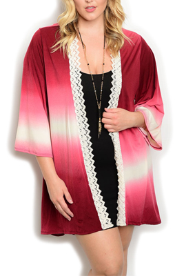 Plus Size Tie Dye Crocheted Long Cardigan
