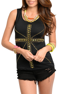 Sexy Trendy Studded Cross Knit Tank Top