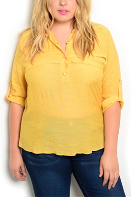 Plus Size Sheer Collared Paneled Lace Top