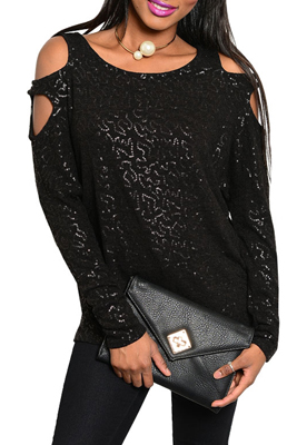 Trendy Sequined Cold Shoulder Knit Top