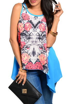 Trendy Sexy Asymmetrical Floral Mixed Print Top