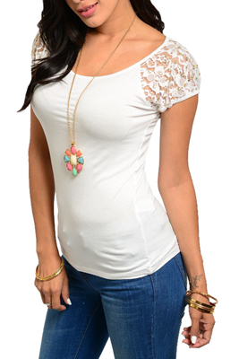 Trendy Sheer Lace Jeweled Fitted Cap Sleeve Top