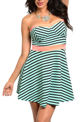 Sexy Strapless Striped Mini Date Dress