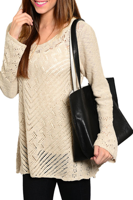 Trendy Sheer Crocheted Knit Long Sleeve Sweater Top