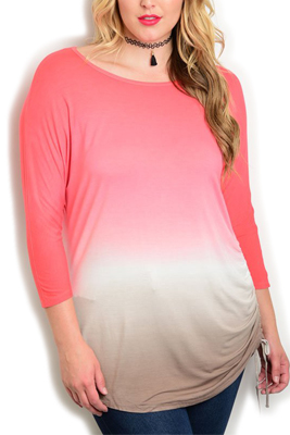 Plus Size Casual Ombre Knit Slouchy Top