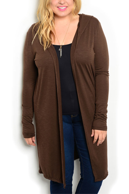 Plus Size Sheer Open Front Hooded Cardigan