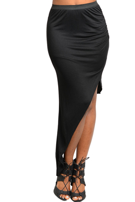 Sexy Asymmetrical Hem Knee Length Knit Skirt