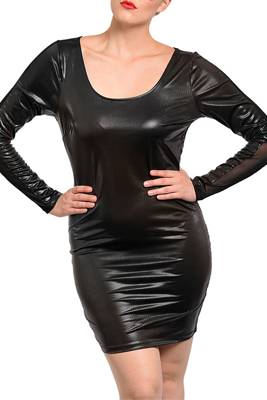 Plus Size Sexy Fitted Pleather Open Back Club Dress