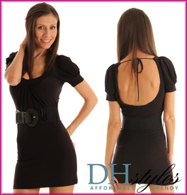 Belted Open Back Cocktail Mini Dress