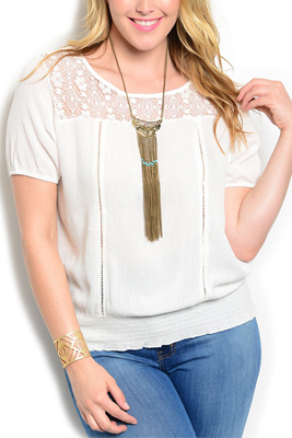 Plus Size Trendy Soft Knit Woven Crochet Neckline Blouse Top