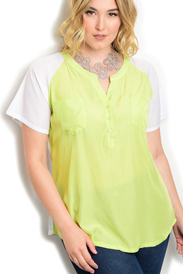 Plus Size Sheer Paneled Buttoned Neck Top