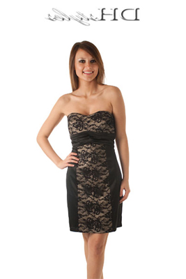 Strapless Ornate Satin and Lace Cocktail Dress
