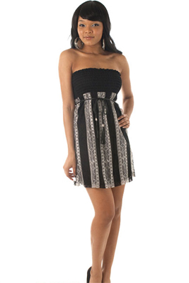 Flirty Strapless Lace Striped Dress with Belt