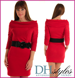 Trendy Bateau 3/4 Sleeve Sweater Dress W/Belt