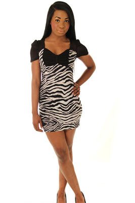 Slinky Mesh Zebra Mini Dress