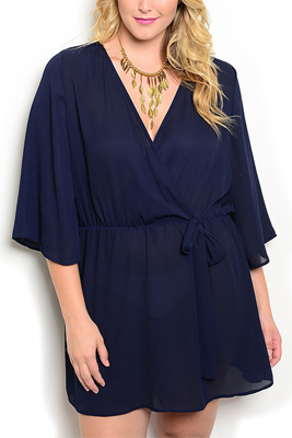 Plus Size Sheer Wrap Front V Neck Dress