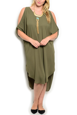Plus Size Cold Shoulder High Low Date Dress