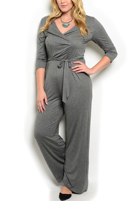 Plus Size Wrap V Neck Romper With Sash
