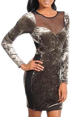Trendy Crushed Velvet Mesh Long Sleeve Dress