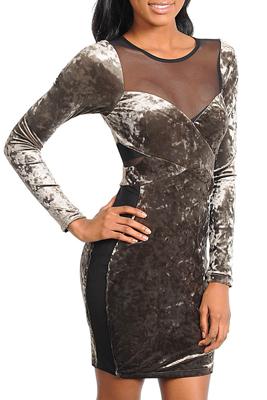 Trendy Crushed Velvet Mesh Long Sleeve Dress