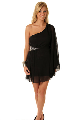 Beautiful Long Sleeve One Shoulder Cocktail Dress