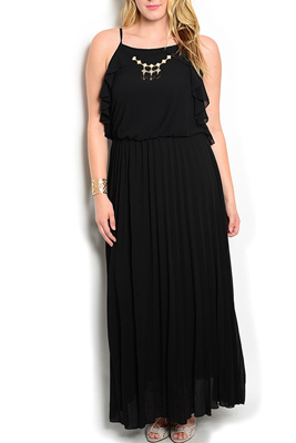 Plus Size Ruffled Maxi Dress With Necklace