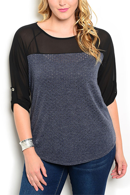 Plus Size Sheer Paneled Shimmery Cutouts Top
