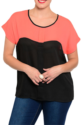 Plus Size Sexy Sheer Color Block Crisscross Back Top