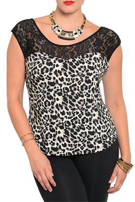 Plus Size Dressy Animal Print Lace Zipper Back Top