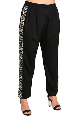 Plus Size Trendy Animal Print Stretch Knit Dressy Pants