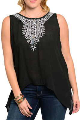 Plus Size Embroidered Pattern Sleeveless Sheer Knit Top